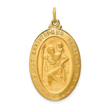 14k Solid Polished/Satin Large Oval St. Christopher Medal