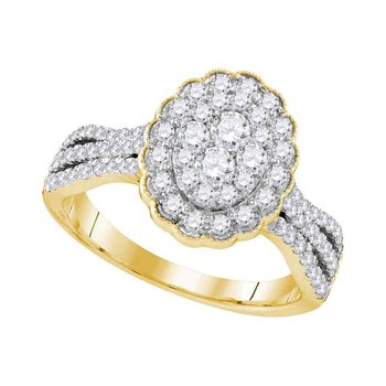 10kt Yellow Gold Womens Round Diamond Oval Flower Cluster Ring 1.00 Cttw