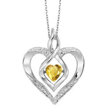 Diamond & Synthetic Citrine Heart Infinity Symbol ROL Rhythm of Love Pendant in Sterling Silver