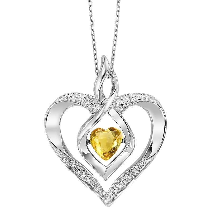 Necker's Signature Collection Silver Diamond & Created Citrine Pendant