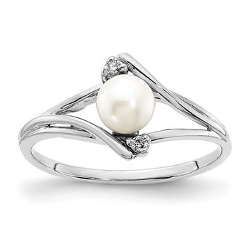 14k White Gold FW Cultured Pearl Diamond FW Cultured Pearl ring