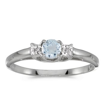 10k White Gold Round Aquamarine And Diamond Ring
