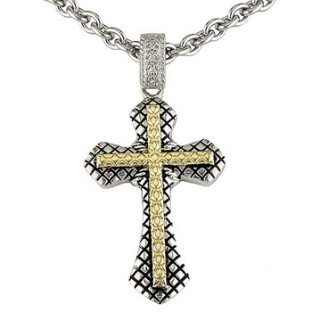 18kt and Sterling Silver Traditional Diamond Cross with Chain