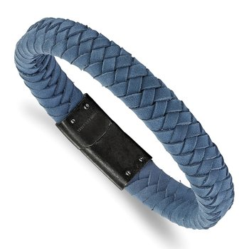 Stainless Steel Brushed Light Blue Leather Braided 8.25in Bracelet