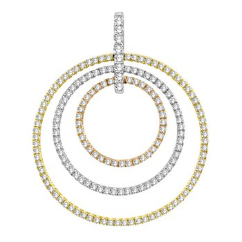 Tri Color Diamond Circle Pendant