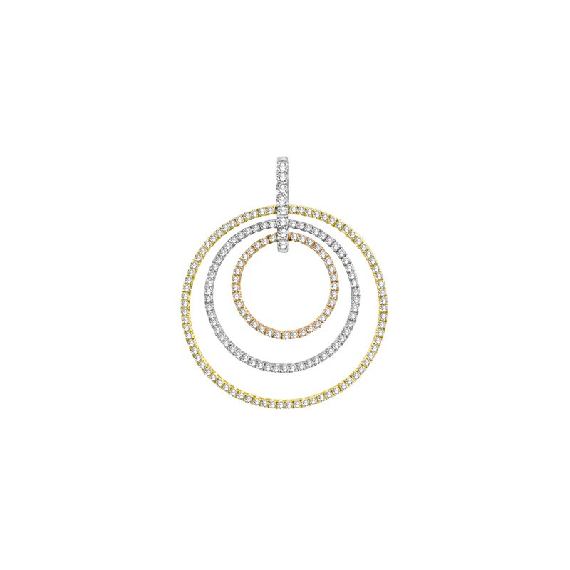 S. Kashi  & Sons Tri Color Diamond Circle Pendant