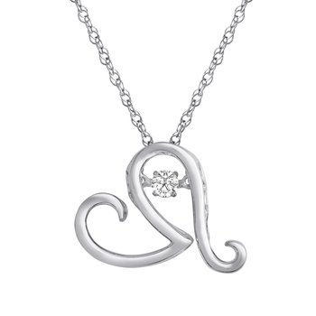 SILVER 1/10CTW HEARTBEAT COLLECTION PENDANT