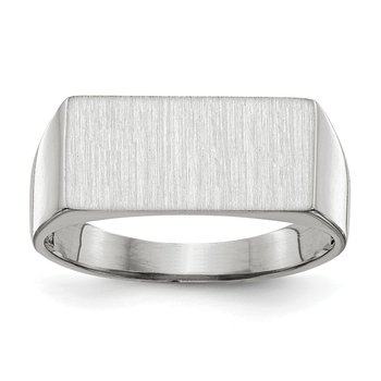 14k White Gold 8.0x16.5mm Closed Back Signet Ring