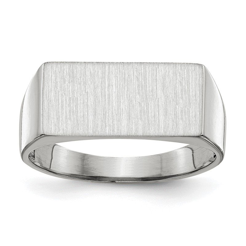 Quality Gold 14k White Gold 8.0x16.5mm Closed Back Signet Ring