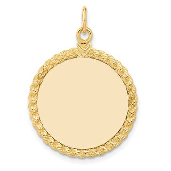 14k Plain .013 Gauge Circular Engravable Disc with Rope Charm