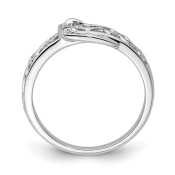 Sterling Silver Rhodium Plated Diamond Buckle Ring