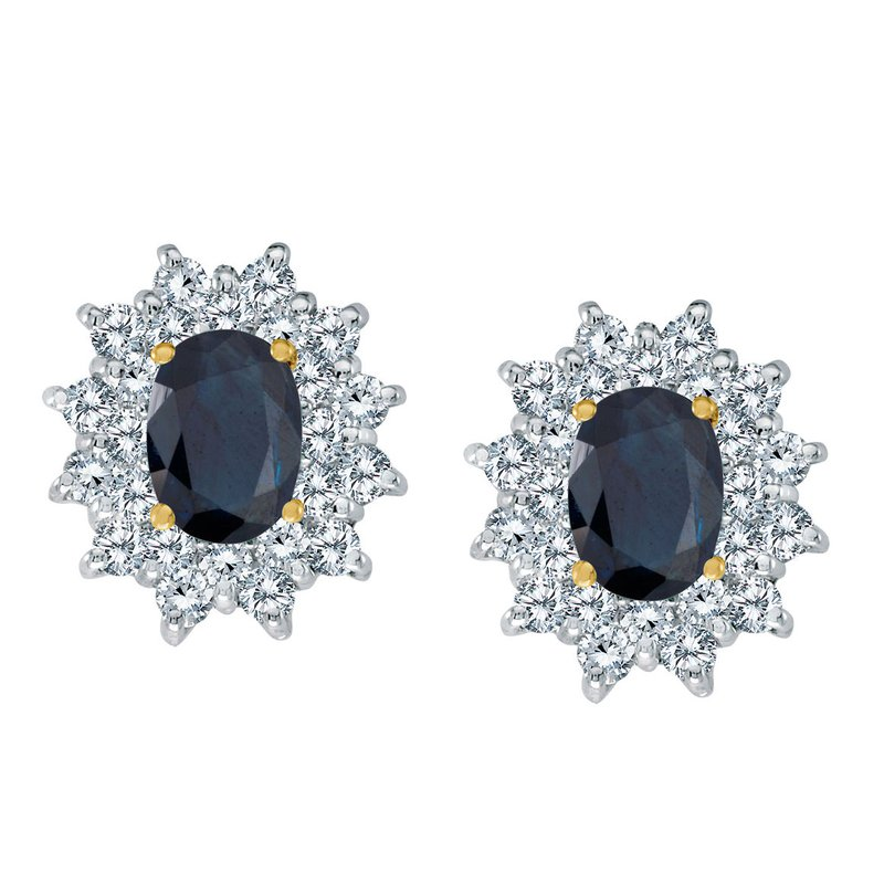Color Merchants 14k Yellow Gold Oval Sapphire and Diamond Stud Earrings