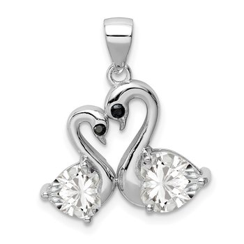 Sterling Silver Rhodium-plated Polished CZ Swan Couple Pendant
