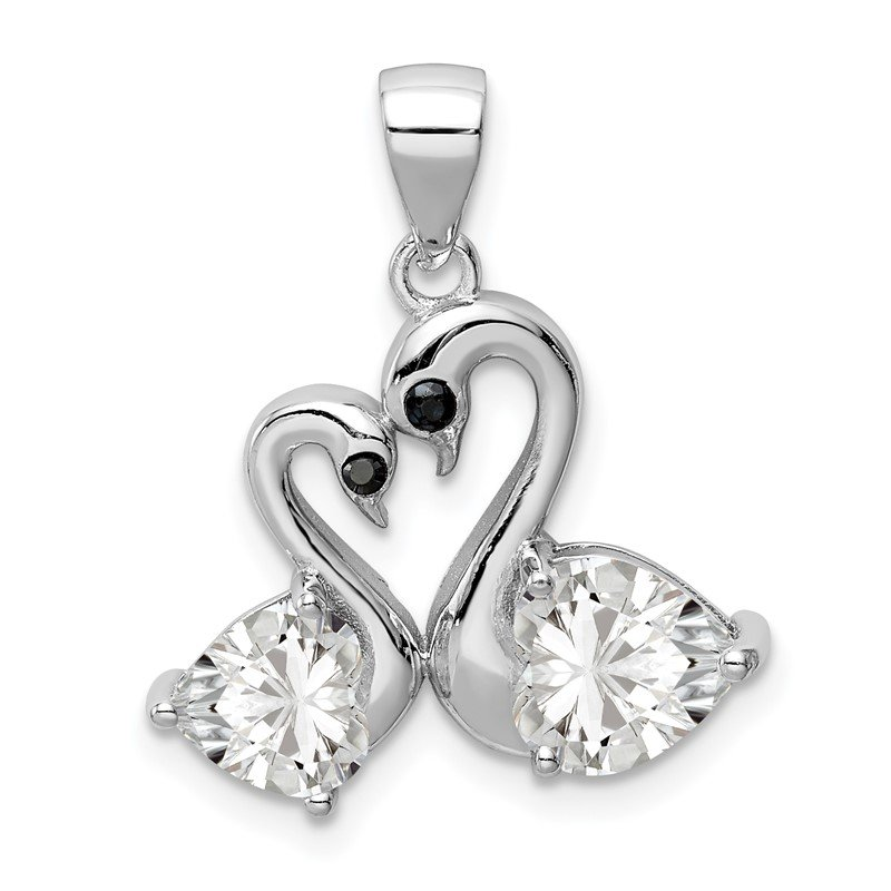 Quality Gold Sterling Silver Rhodium-plated Polished CZ Swan Couple Pendant