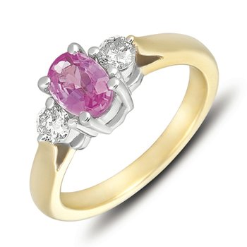 Yellow & White Gold Pink Sapp & Dia Ring