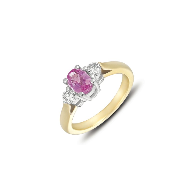 S. Kashi  & Sons Yellow & White Gold Pink Sapp & Dia Ring