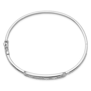 Sterling Silver Rhodium-plated Sliding CZ Stones Hinged Bangle