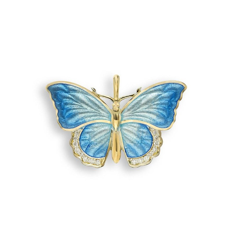 Nicole Barr Designs Blue Butterfly Pendant.18K -Diamond