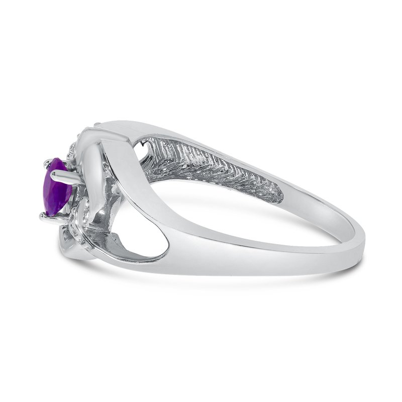 Color Merchants 10k White Gold Round Amethyst And Diamond Heart Ring