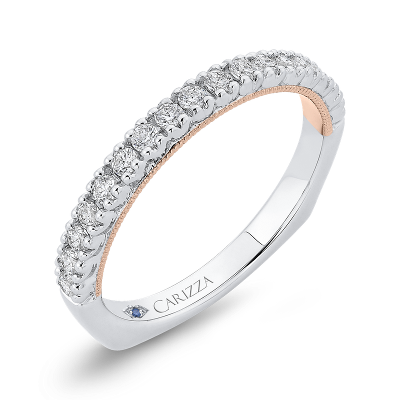 Carizza 14K Two-Tone Gold Round Diamond Half-Eternity Wedding Band with Euro Shank