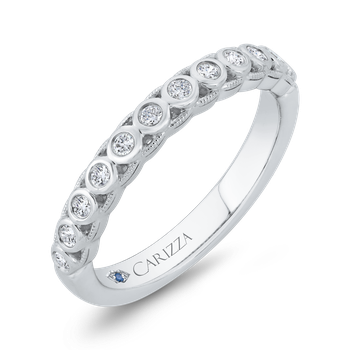 18K White Gold Bezel Set Diamond Wedding Band with Milgrain