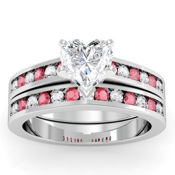 Channel set Ruby and Diamond Engagement Ring with Matching Wedding Band