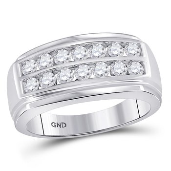 14kt White Gold Mens Round Diamond Double Row Band Ring 1.00 Cttw