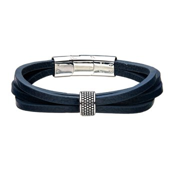 Stainless Steel Wrap Around  Style Blue Leather Station Bracelet
