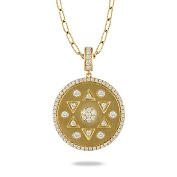 Fibonacci Brushed Disc Diamond Necklace