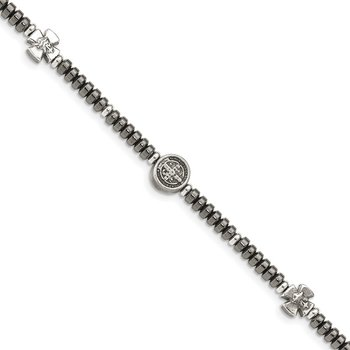 Sterling Silver Antiqued Black Bead with Crosses Bracelet