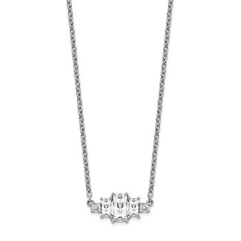 Cheryl M Sterling Silver Rhodium-plated 18in Emerald-cut CZ Bar Necklace