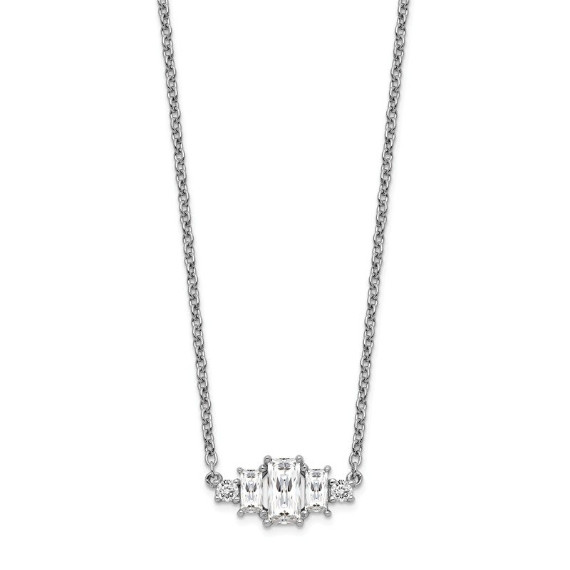 Cheryl M Cheryl M Sterling Silver Brilliant-cut & Emerald-cut CZ Bar Necklace