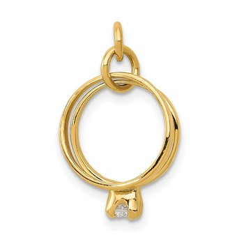 14k 3D Wedding Rings CZ Charm
