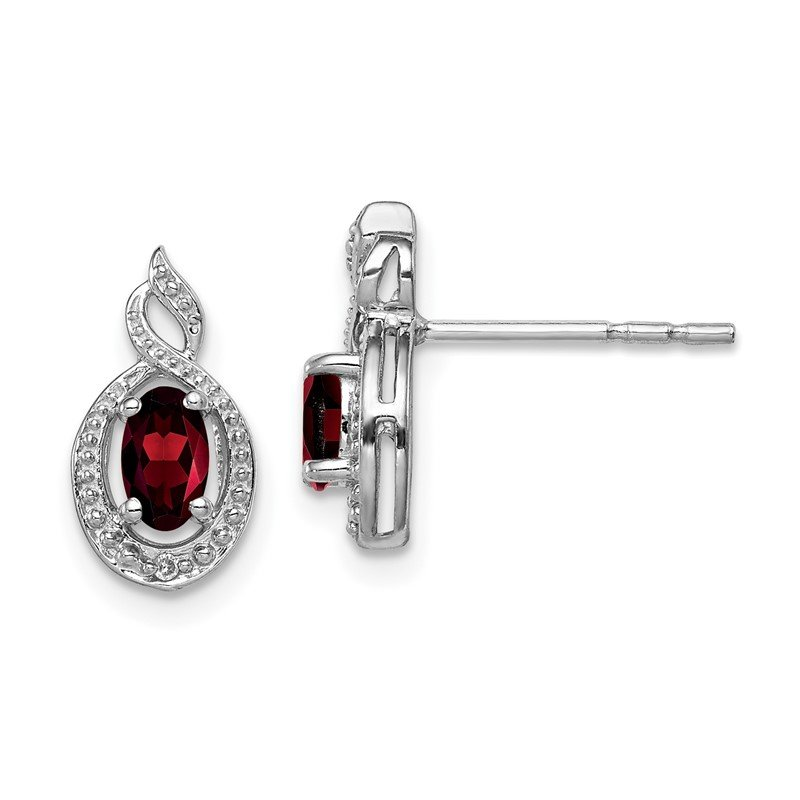 Quality Gold Sterling Silver Rhodium-plated Garnet & Diam. Earrings