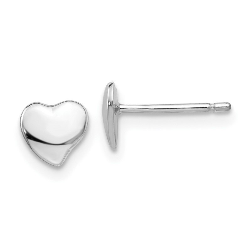 Quality Gold 14k White Polished Heart Post Earrings