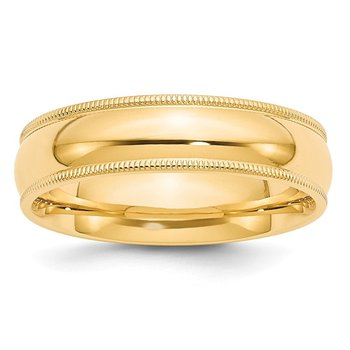 14k 6mm Milgrain Comfort Wedding Band