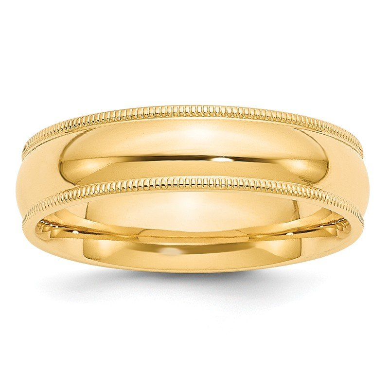 Quality Gold 14k 6mm Milgrain Comfort Wedding Band