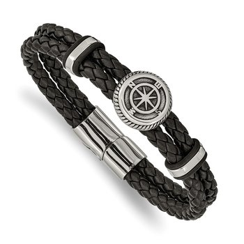 Stainless Steel Antiqued & Polished Black Leather Compass 8in Bracelet