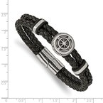 Chisel Stainless Steel Antiqued & Polished Black Leather Compass 8in Bracelet