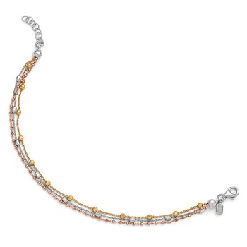 Leslie's Sterling Silver Rose & Yellow Gold-plated Necklace w/2in ext