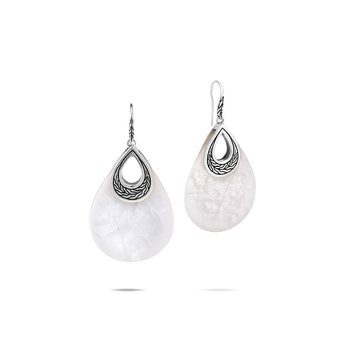 Classic Chain Teardrop Earring in Silver with Gemstone