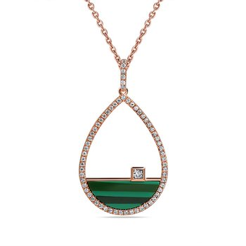 14K PEAR SHAPE PENDANT WITH MALACHITE 1.04CT & 64 DIAMONDS 0.30C ON A 18 INCHES CHAIN