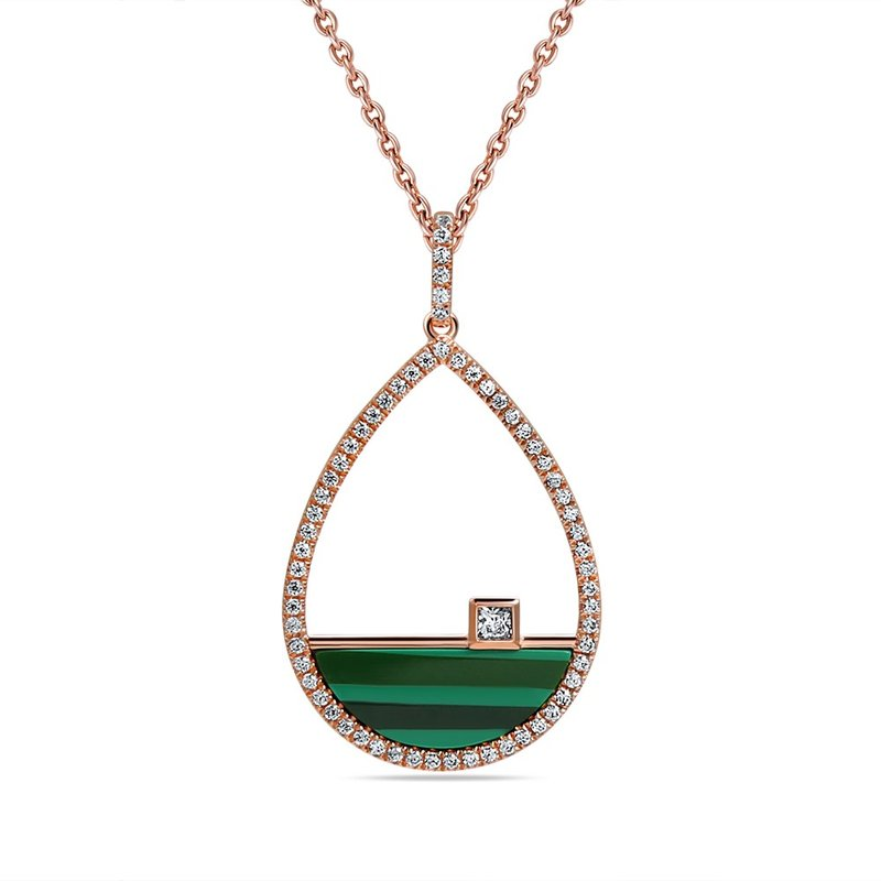 Shula NY 14K PEAR SHAPE PENDANT WITH MALACHITE 1.04CT & 64 DIAMONDS 0.30C ON A 18 INCHES CHAIN