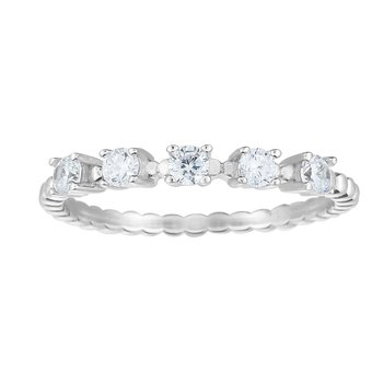 Silver CZ Station Stackable Ring