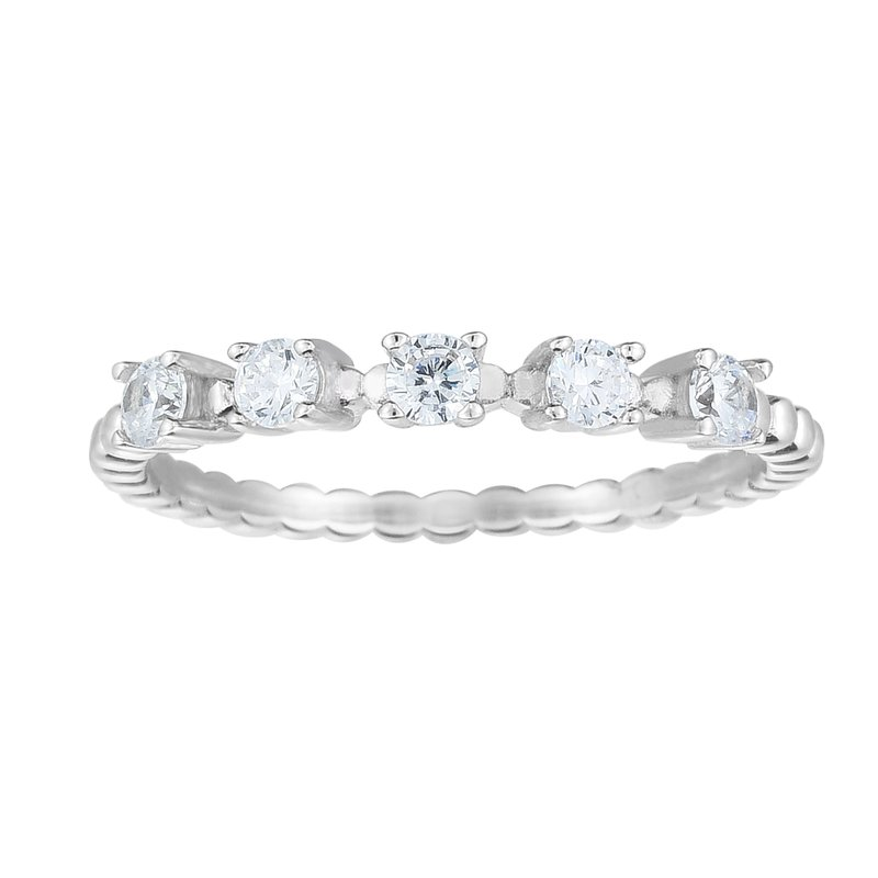 Royal Chain Silver CZ Station Stackable Ring