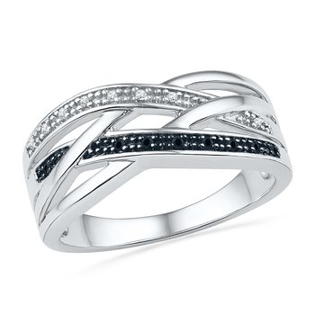 Promise Ring 0.05CTTW Sterling Silver Black & White Diamond