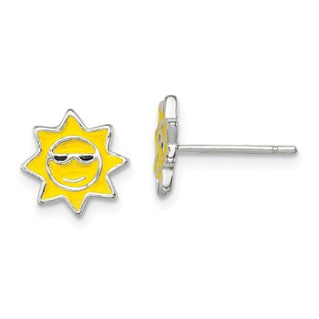 Sterling Silver Polished Enamel Sunshine Post Earrings