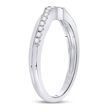 10kt White Gold Womens Round Diamond Contoured Enhancer Wedding Band 1/8 Cttw