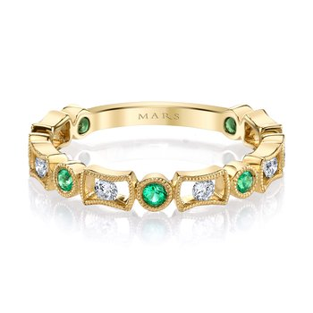 MARS 26211YGEM Stackable Ring, 0.18 Dia, 0.18 Emerald