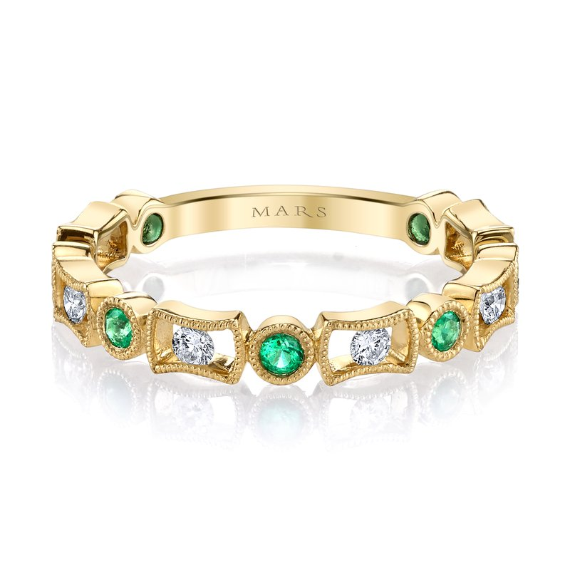 MARS Jewelry MARS 26211YGEM Stackable Ring, 0.18 Dia, 0.18 Emerald